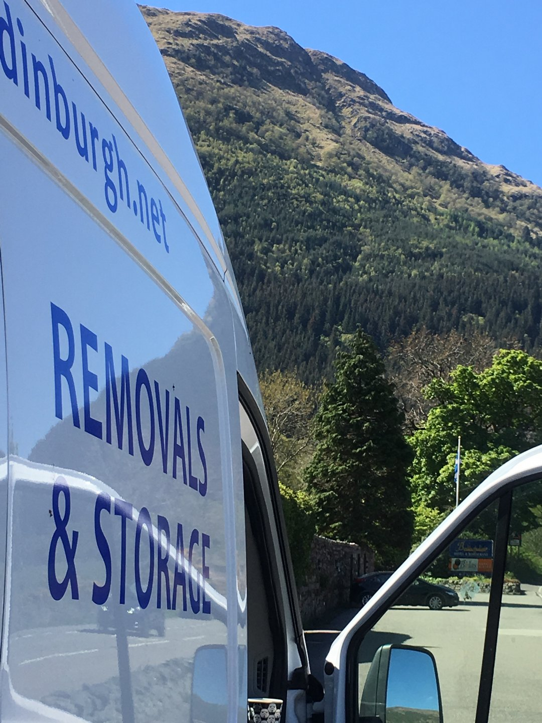 man with a van Edinburgh parked by side of a mountain