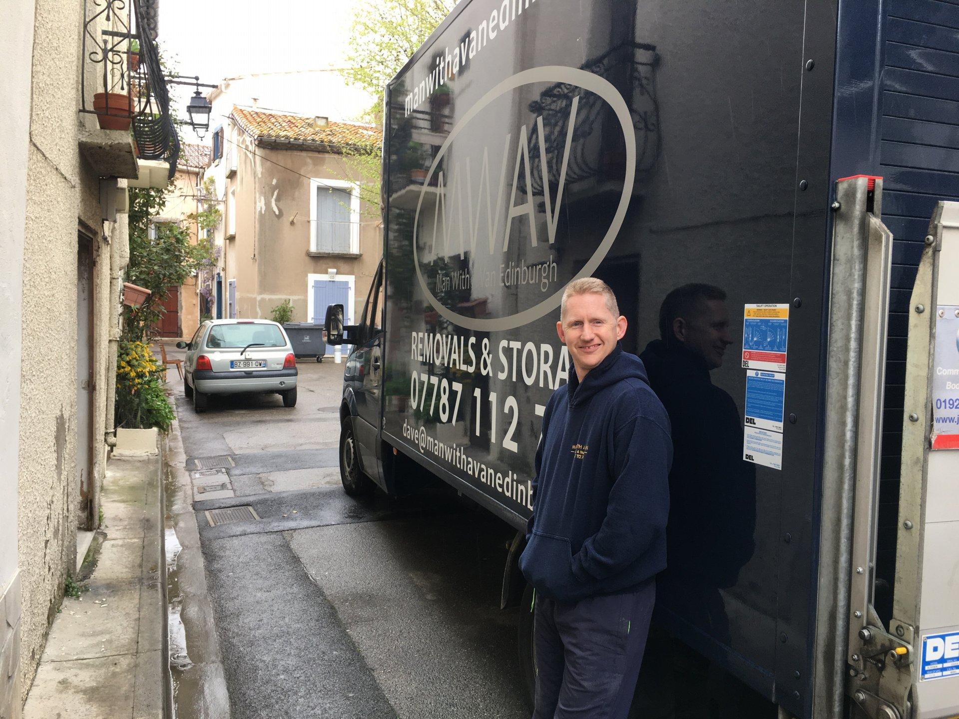 man with a van Edinburgh standing in front of van