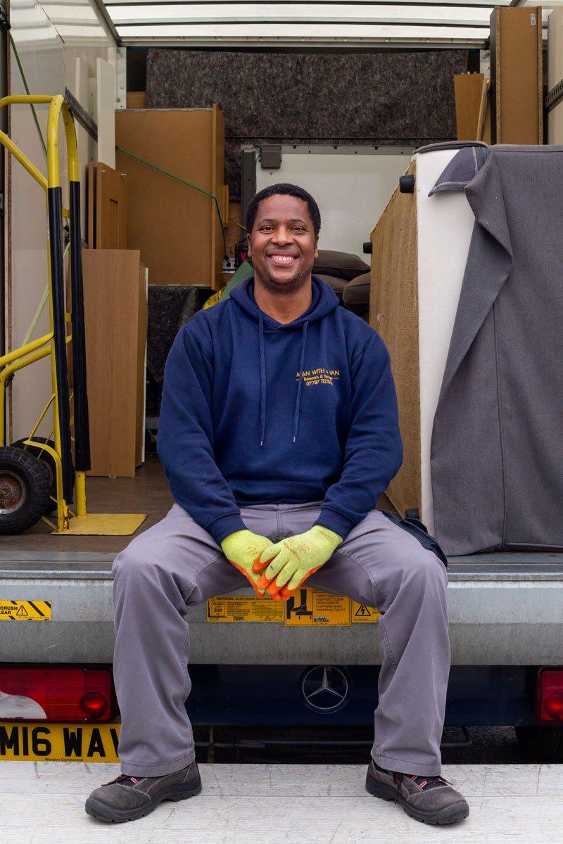 man with a van Edinburgh removal sitting on van